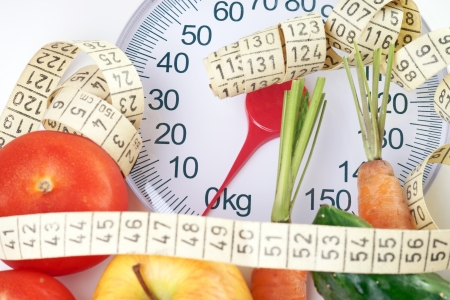 Fruits and vegetables with measuring tape on a Body Scale photo
