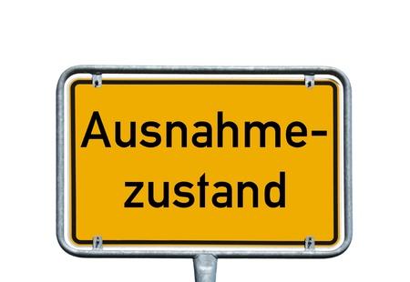tabellare: Scudo con la parola Stato tedesco di emergenza Archivio Fotografico