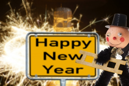 Chimney sweep with sign - Happy New Year photo