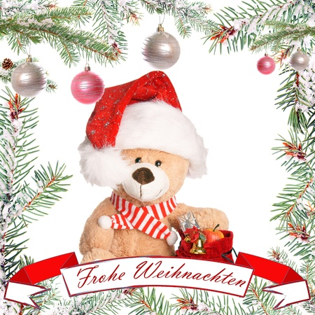 Fir twig frame with teddy photo