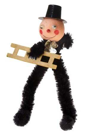 jahreswechsel: chimney sweep figure isolated over a white background