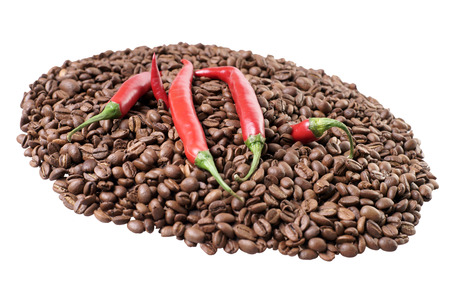 full bodied: Chilli peppers with coffee beans isolated over a white background Stock Photo