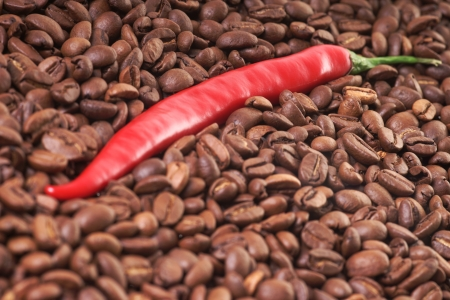 full bodied: Chilli pepper with coffee beans
