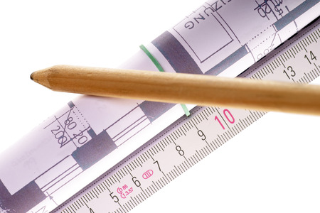 architectural drawing: Architectural drawing with a folding rule and pencil