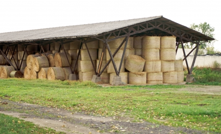 Storage building with straw bales photo
