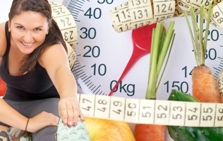 Woman doing sport and body scale with fruits and vegetables