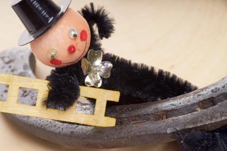 jahreswechsel: Chimney sweep with horseshoe Stock Photo