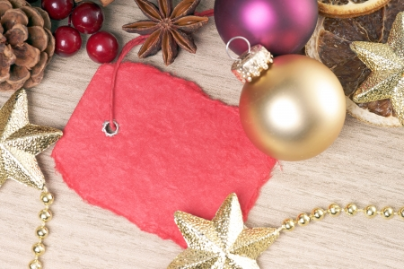 Christmas decoration with blank sign photo