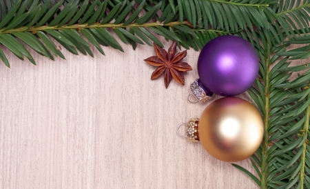 fir twig: Fir twig frame with christmas decoration Stock Photo