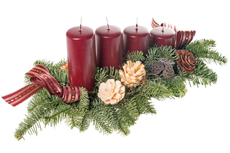 Advent wreath with green branches photo