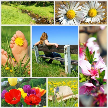 summer time: Summer Time Collage with flowers and two Feet