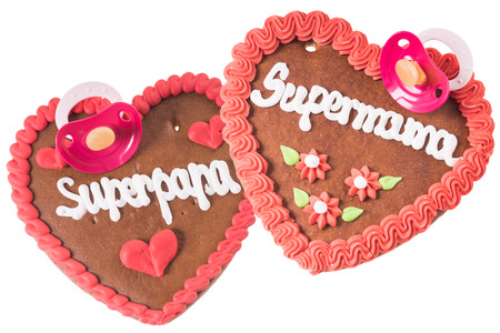 gingerbread Heart with the german words Super Mom and Super Dad photo