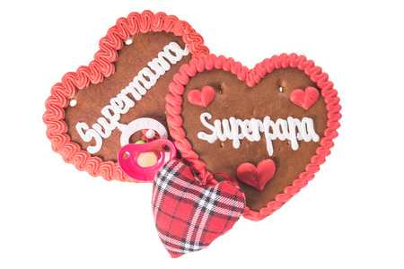 super dad: gingerbread Heart with the german words Super Mom and Super Dad