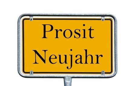 Shield with the german words Prosit Neujahr