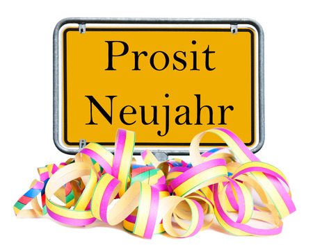 prosit: Shield with the german words Prosit Neujahr and garland Stock Photo