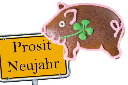 prosit: Shield with the german words Prosit Neujahr with a lucky pig