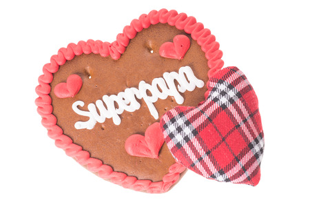 super dad: Gingerbread heart with fabric heart and the german words Super Dad