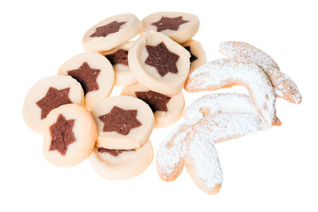configured: delicious cookies with vanilla crescents isolated over a white background