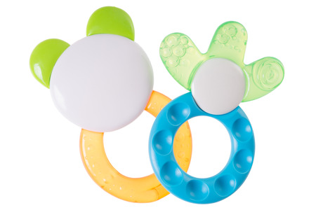 teether: Teether for babies isolated over a white background