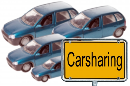 Model Cars and sign with the word Carsharing photo