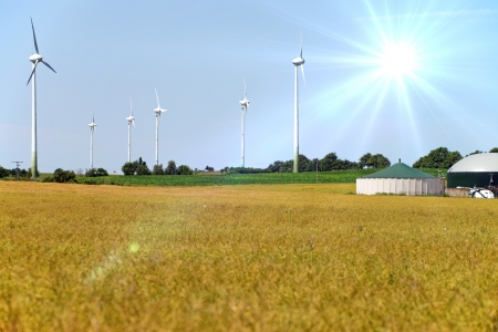 Grain field with wind turbines and biogas system photo