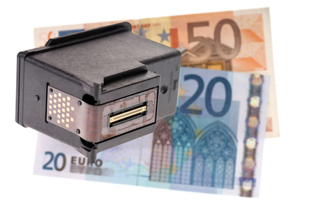 Printer cartridge and euro banknotes isolated over a white background photo