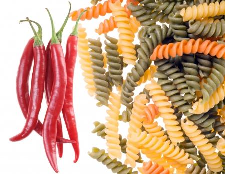 Spirelli pasta with chili peppers photo
