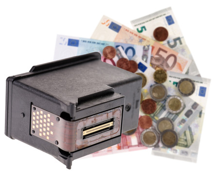ink jet: Printer cartridge and euro banknotes isolated over a white background Stock Photo