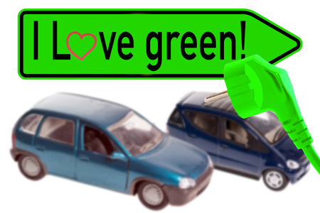 electric cars and shield with the words i love green photo