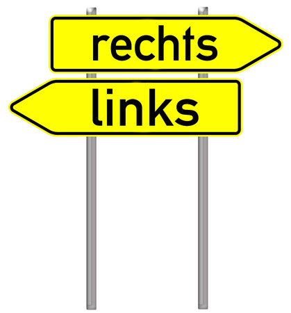 Sign with the german words left and right