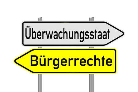 liberties: sign with the german words surveillance state and civil rights