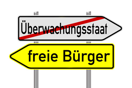 liberties: Signpost with the german words surveillance state and free citizens