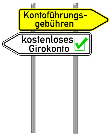 checking account: Signpost with the german words free checking account isolated over a white background Stock Photo