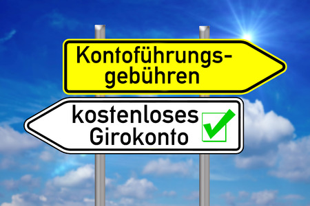 checking account: Signpost with the german words free checking account over blue sky Stock Photo