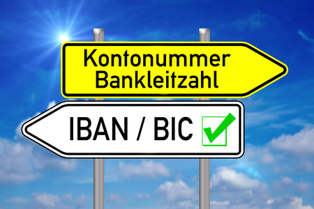 euro area: Signpost with the german words account number and IBAN BIC over blue sky