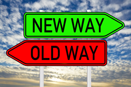 Sign with the words Old Way and New Way photo