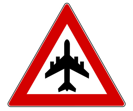respectful: german Traffic Sign Caution flight operations isolated over a white background Stock Photo