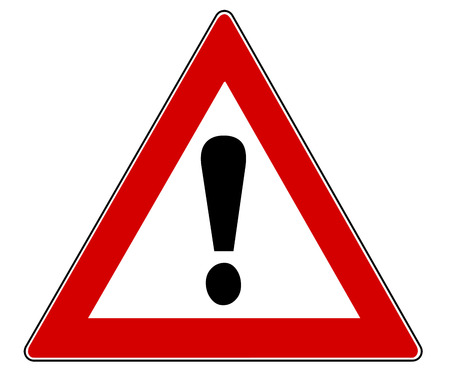 cautious: Traffic Sign with exclamation mark isolated over a white background Stock Photo