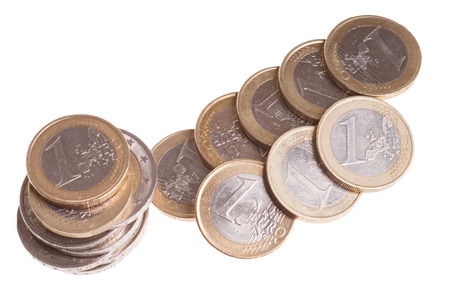 exempted: Euro coins isolated over a white background