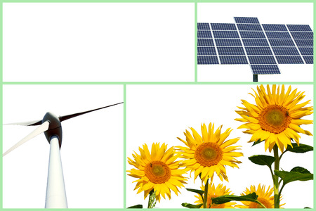 electricity tariff: Collage with sunflower, solar panel and wind turbine Stock Photo