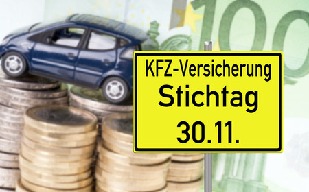 fully comprehensive: Car with money and shield with the german words car insurance date