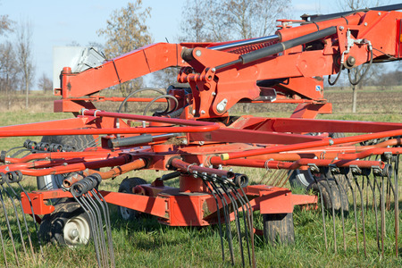 agricultural engineering: agricultural equipment on a field Stock Photo