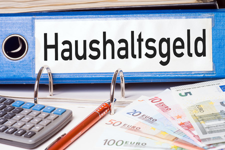 budgetary: File folder with the german words household money