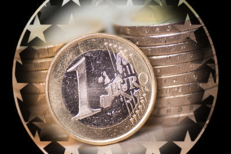 euro area: Close Up of euro coins