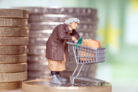 Old woman with shopping cart on a euro coin