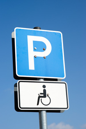 german traffic Sign Handicapped Parking Stock Photo