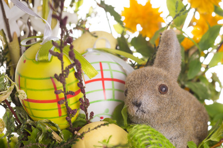 ecclesiastical: Easter eggs and Easter bunny with flowers