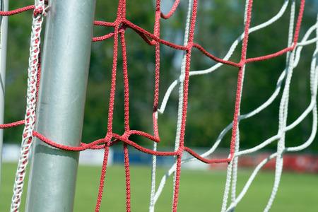 soccer net: Football field with soccer net Stock Photo