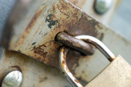connectedness: old padlock Stock Photo