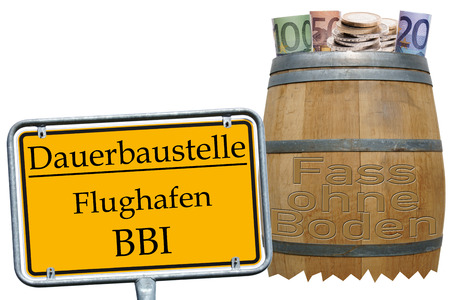 bottomless: Bottomless pit and sign with the german words permanent construction site Airport BBI